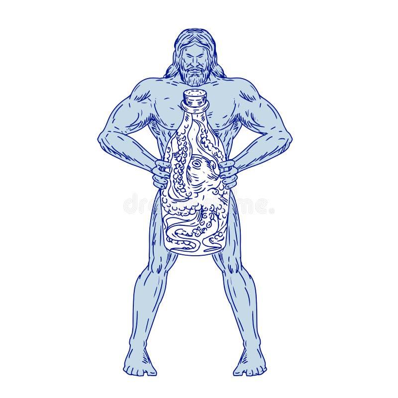 Hercules mienia butelka Z ośmiornicą Wśrodku rysunku ilustracji