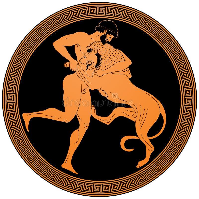 Hercules que atraca-se o leão de Nemean ilustração royalty free