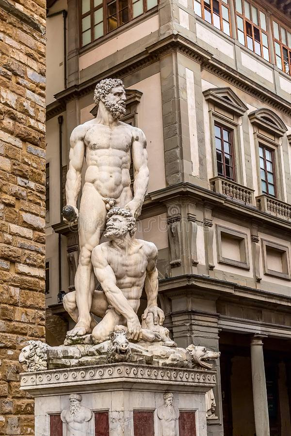 Hercules-standbeeld dichtbij Palazzo Vecchio, Florence, Itali? stock afbeelding