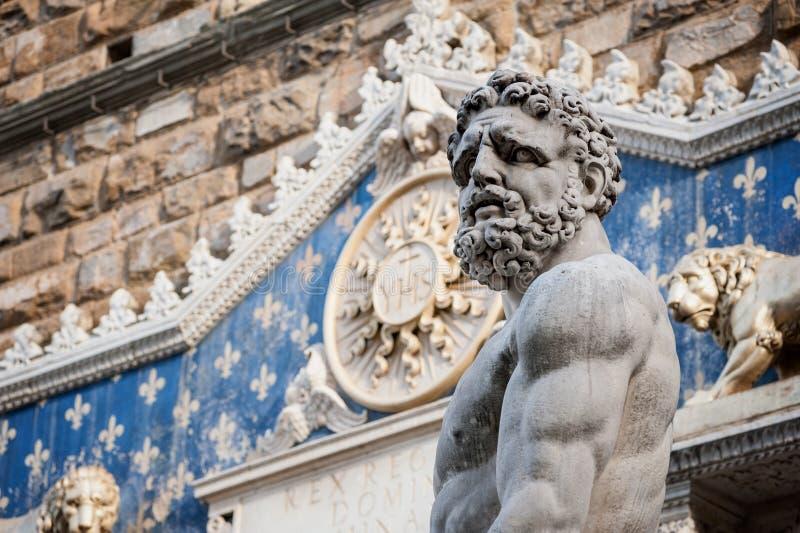 Hercules-standbeeld en frontispice van Palazzo Vecchio in FL royalty-vrije stock fotografie