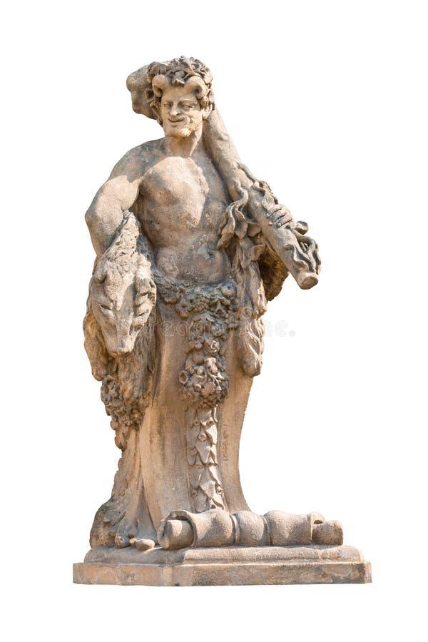 Hercules Strangling Beast Marble Statue op wit wordt geïsoleerd dat royalty-vrije stock foto