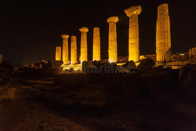 Hercules Temple in Agrigento archaeological park. Sicily royalty free stock images