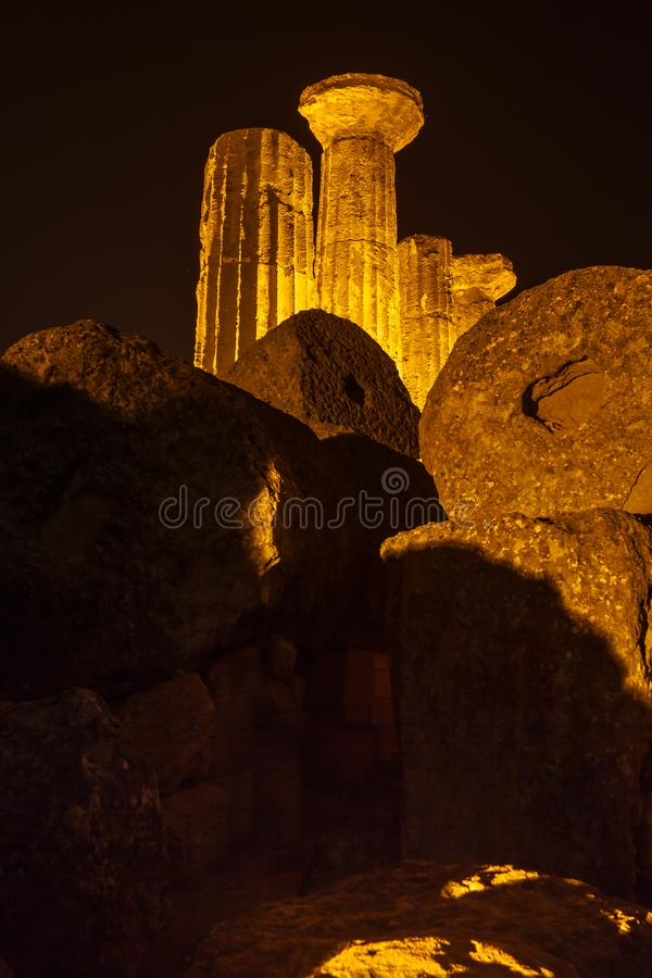 Hercules Temple in Agrigento archaeological park. Sicily royalty free stock image
