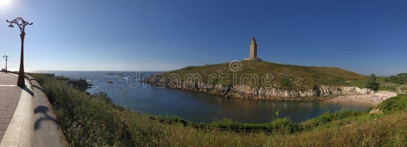 Hercules Tower i La Coruña Spanien royaltyfri fotografi
