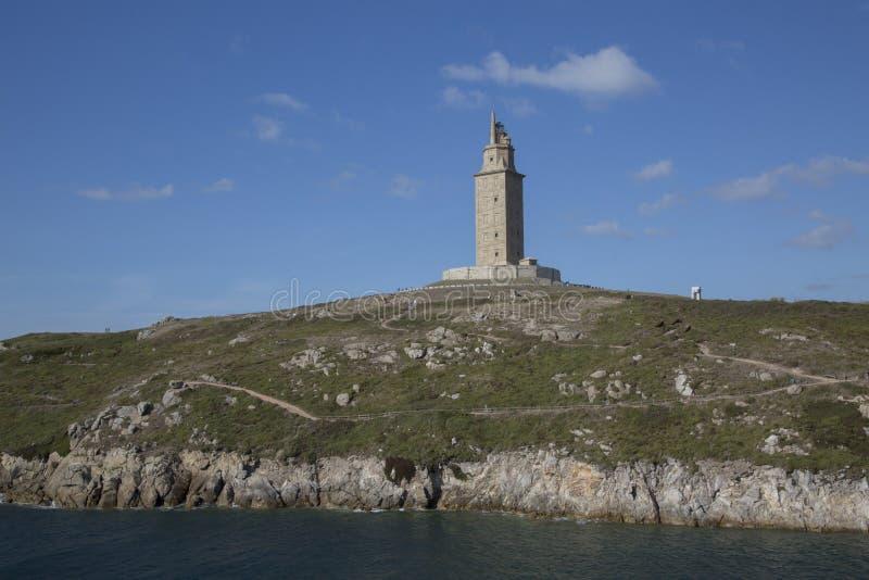 Hercules Tower, La Coruna, Galicië stock afbeeldingen