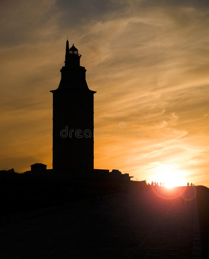 Hercules tower (lighthouse) silhouette, La Coruna, Galicia, Spain, UNESCO. The photo shows the lighthouse silhouette in a Sunset royalty free stock images
