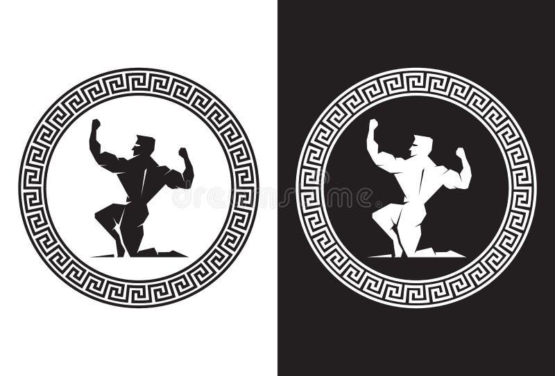 Hercules wśrodku Greckiego klucza z powrotem widoku ilustracji
