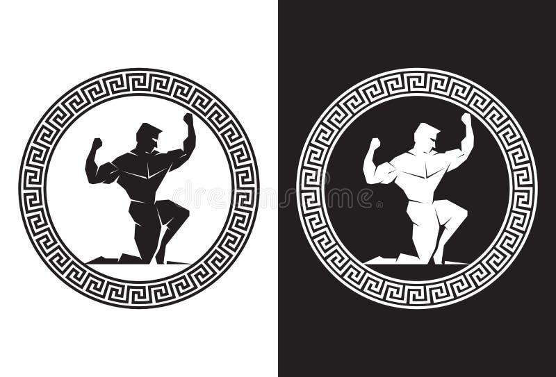 Hercules wśrodku Greckiego Kluczowego frontowego widoku ilustracja wektor