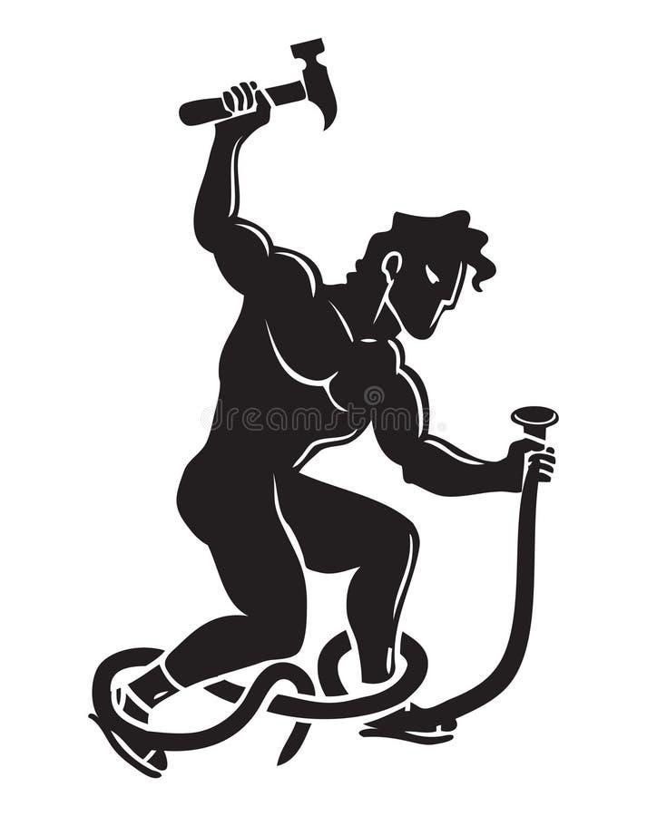 Hercules złote rączki z hummerem royalty ilustracja