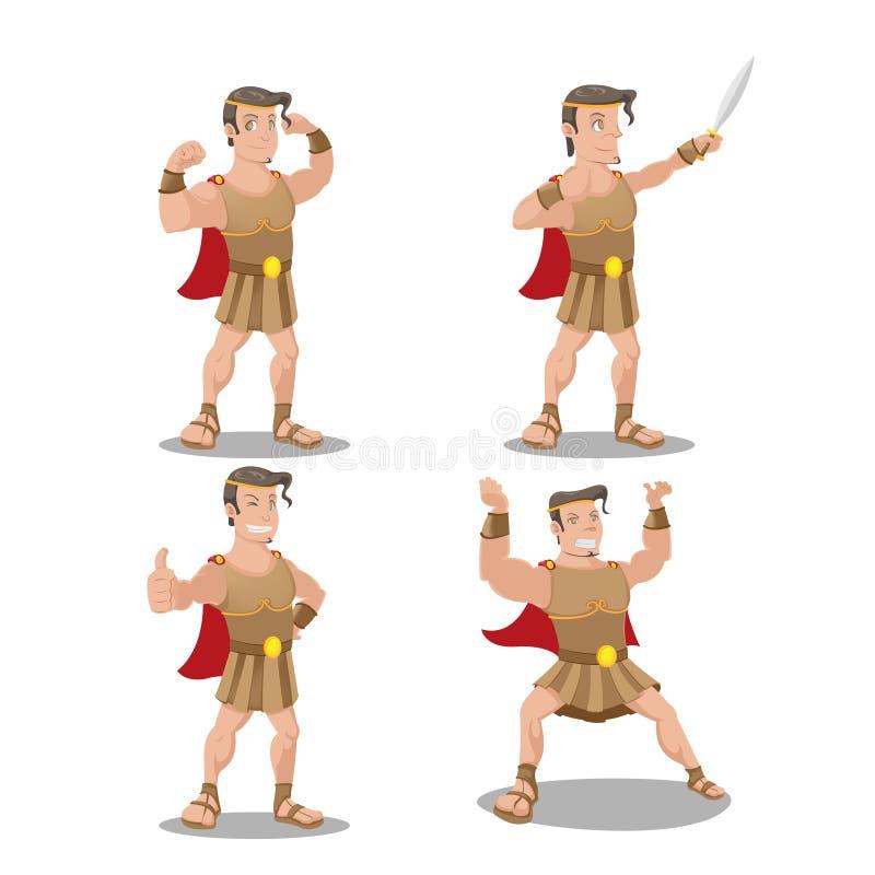Hercures God Hero Cartoon Character Vector vector illustration