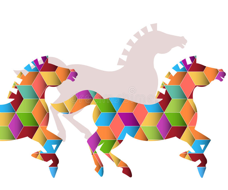 Herd Of  Graphic Horses Royalty Free Stock Photos