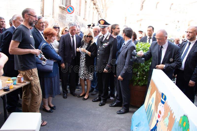 Herdenking van Algemeen Carlo Alberto Dalla Chiesa, Palermo stock foto