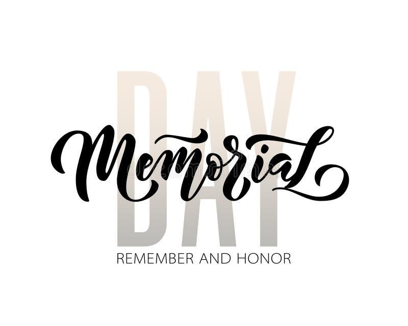 Herdenkings Dag Herinner me en eer Het vectorillustratiehand getrokken tekst van letters voorzien met sterren voor Memorial Day i royalty-vrije illustratie