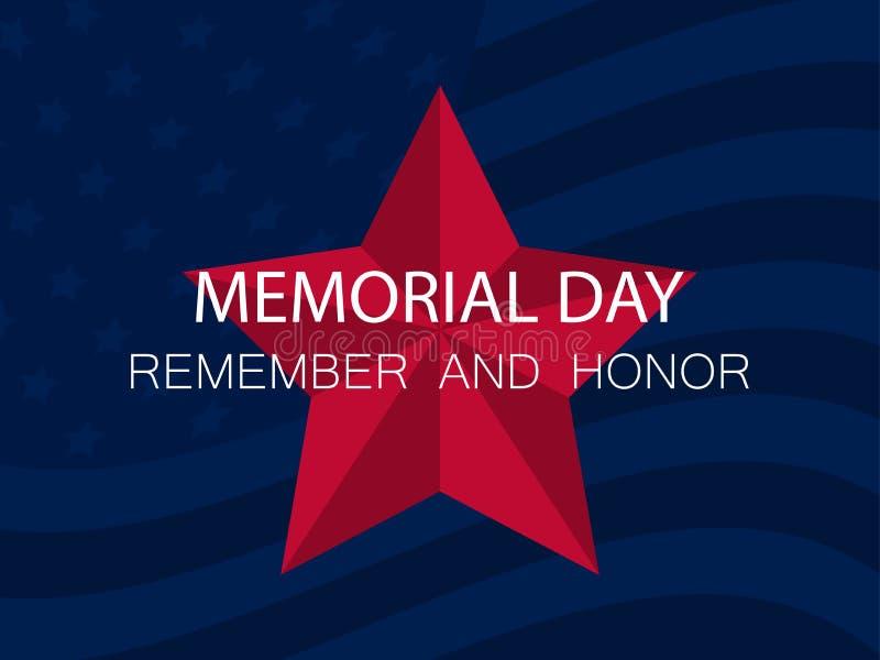 Herdenkings Dag Herinner me en eer Rood vijf-gerichte ster op blauwe achtergrond met Vlag van de Verenigde Staten Vector vector illustratie