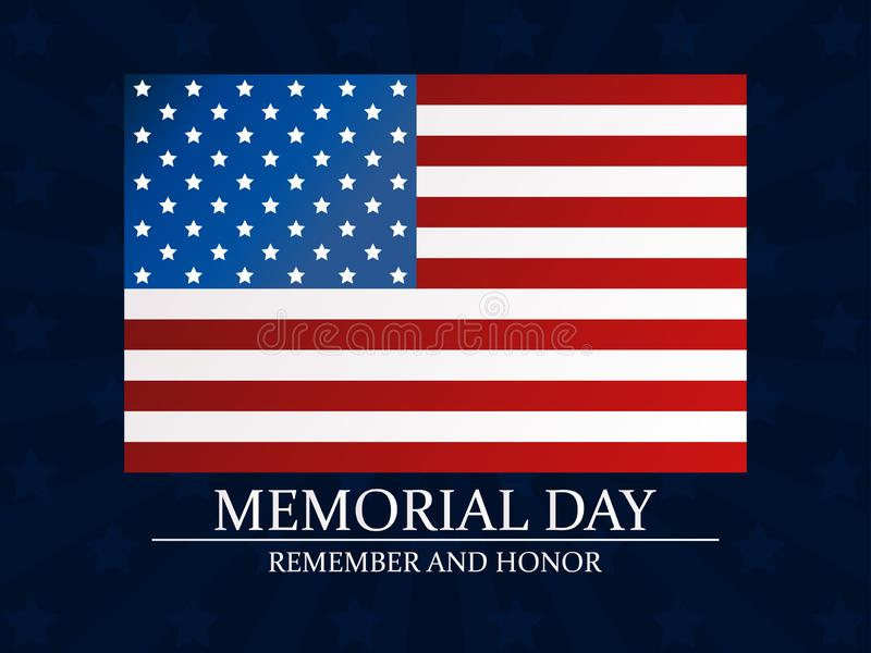 Herdenkings Dag Herinner me en eer Vlag van de Verenigde Staten Vector vector illustratie
