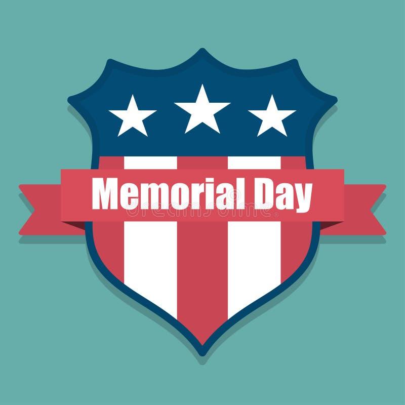Herdenkings Dag Het schild van de V.S. met de vlag van de V.S. binnen met lint royalty-vrije illustratie