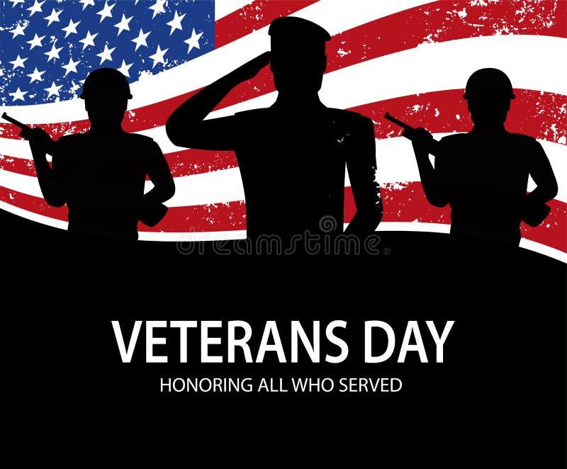 Herdenkings Dag Militairen op achtergrond van Amerikaanse vlag remember stock illustratie