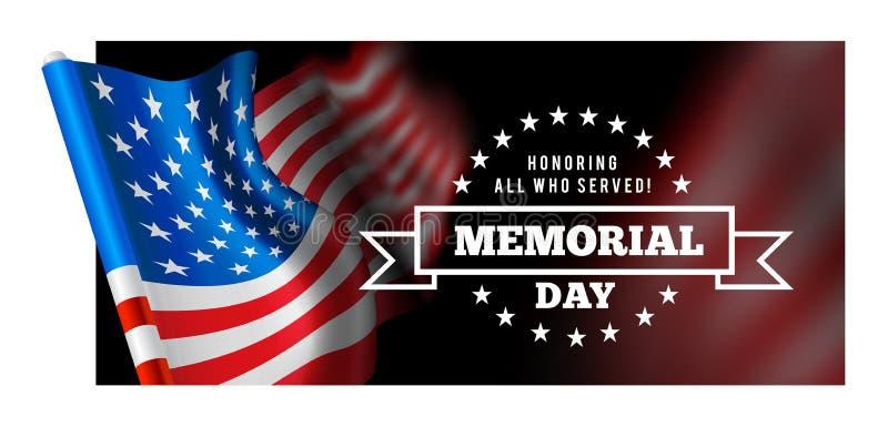 Herdenkingsdag vectorillustratie met golvende vlag van de Verenigde Staten van Amerika stock illustratie