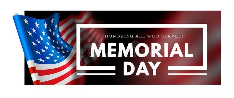 Herdenkingsdag vectorillustratie met golvende vlag van de Verenigde Staten van Amerika royalty-vrije illustratie