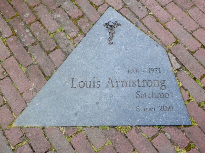 Herdenkingsplacque aan Louis Armstrong royalty-vrije stock foto