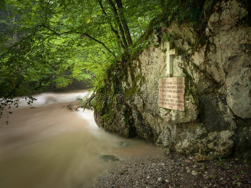 Herdenkingsplaque van Leo Gagrin en zijn zoon Wladimir in Rettenbach stock foto