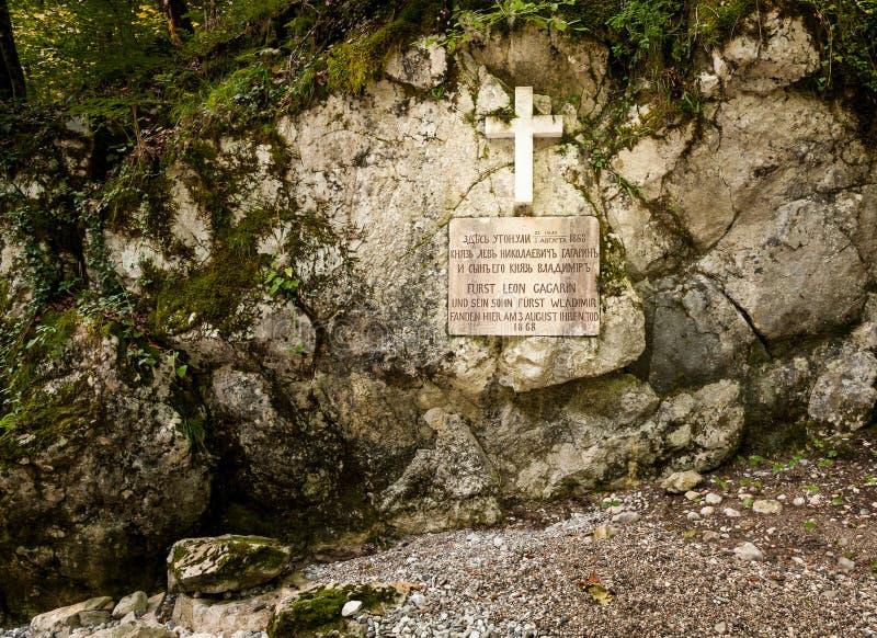 Herdenkingsplaque van Leo Gagrin en zijn zoon Wladimir in Rettenbach stock foto's
