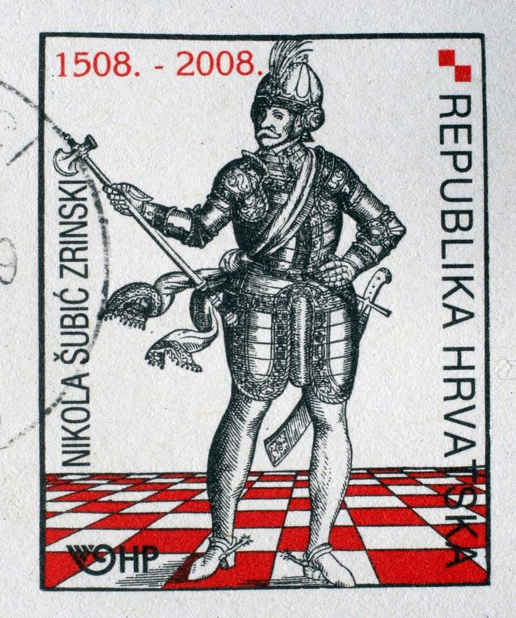 Herdenkingszegel gewijd die aan Nikola Subic Zrinski in Kroatië wordt gedrukt stock afbeelding