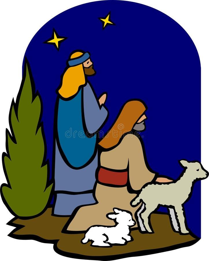 Herders van de Geboorte van Christus/eps royalty-vrije illustratie