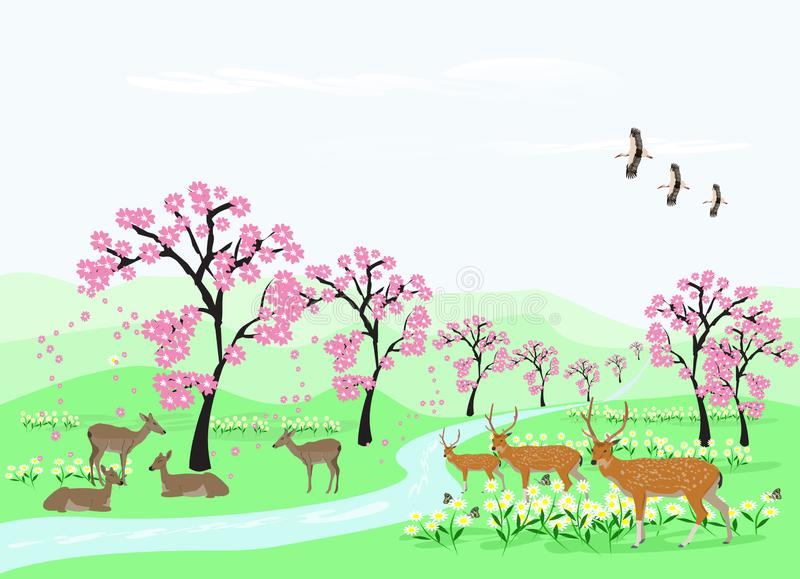 Herds of deer are resting under the cherry trees in the green meadows with long streams. royalty free illustration