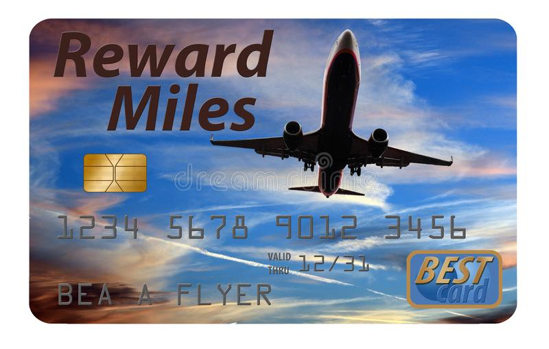 Here is an air miles reward credit card. For frequent fliers and travelers. Card offers air rewards, miles, points and perks stock images