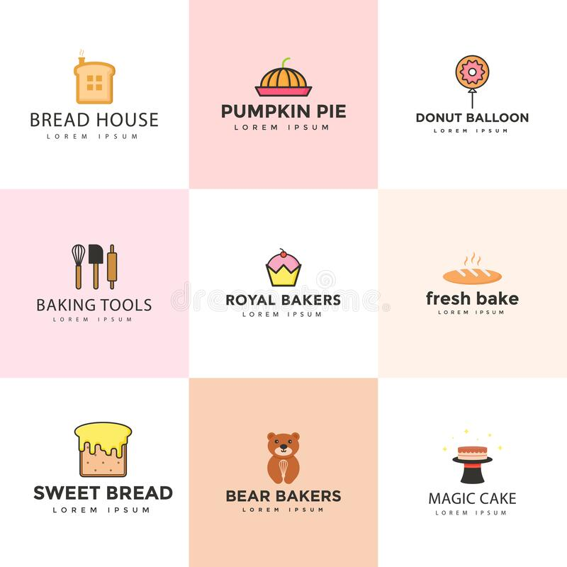 Sketch Candies And Sweets Logos Set:  Set Of Confectionery Logos Isolated. Vector Sweets Stock