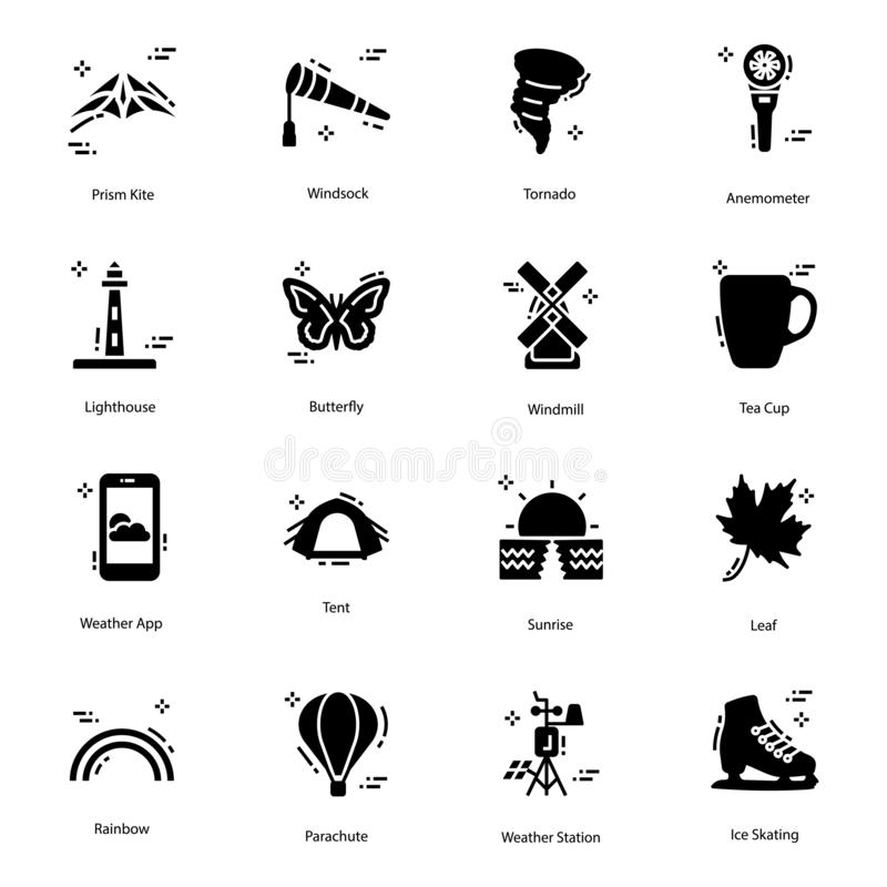 Weather Forecast Solid Icons Pack. Here we come up with mesmerising weather forecast vectors in solid design for your weather, metrology and several other stock illustration