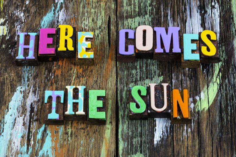 Here comes sun new day summer love typography phrase stock images