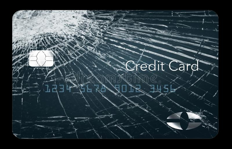 Here is a credit card that looks like broken glass and can be used to illustrate many topics related to personal credit concerns stock illustration