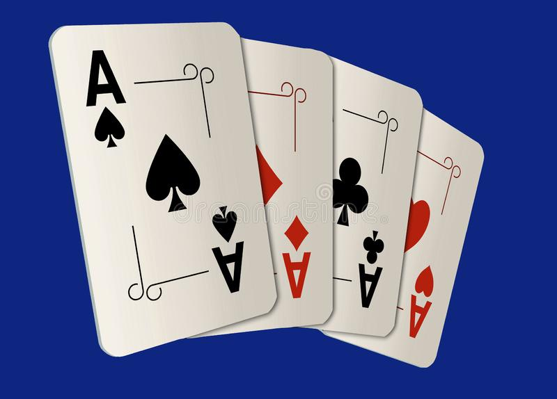 Here are four ace playing cards. A winning poker hand royalty free stock photos