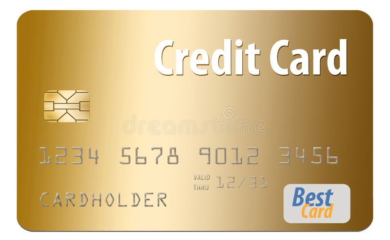 Here is a generic credit card isolated on al white background. royalty free illustration