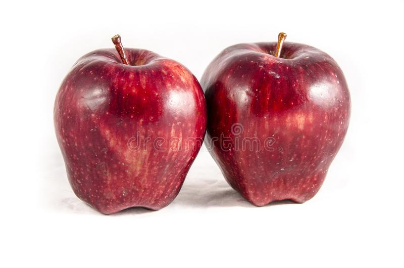 Here we have two fresh red big apple`s stock photo