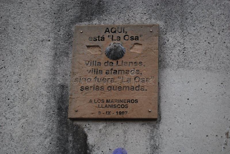 Here is `La Osa` port of Llanes. Villa de Llanes, famed village if it were not `La Osa` would be burned. 1997, Asturias, Spain royalty free stock image