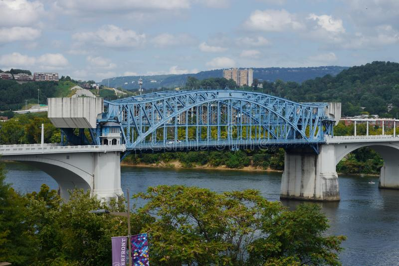 Market Street Bridge--Chattanooga. Here is the Market Street Bridge,aka John Ross Bridge. It is one of the largest bascule bridges ever built. Four times a year stock images