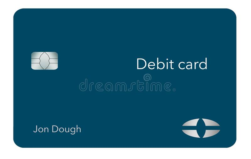Here is a modern and stylish bank debit card. It is an illustration and is mock and generic to avoid any problems with trademarks royalty free illustration