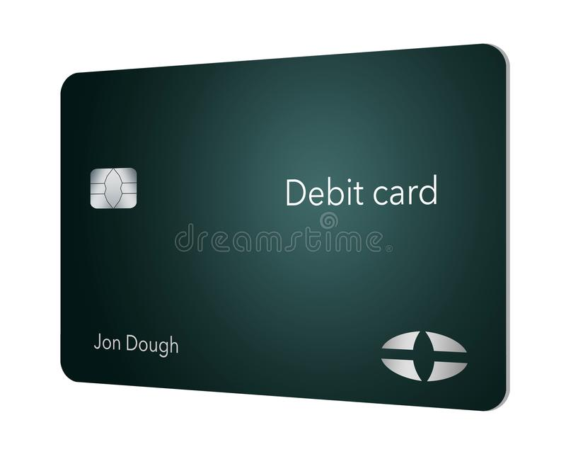 Here is a modern and stylish bank debit card. It is an illustration and is mock and generic to avoid any problems with trademarks stock illustration