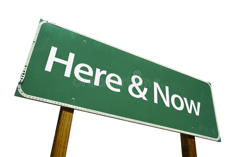 Here & Now road sign stock image
