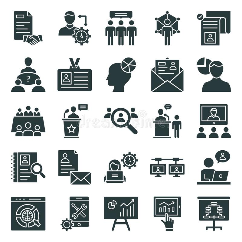 Office and Jobs Isolated Vector Icons Pack royalty free illustration