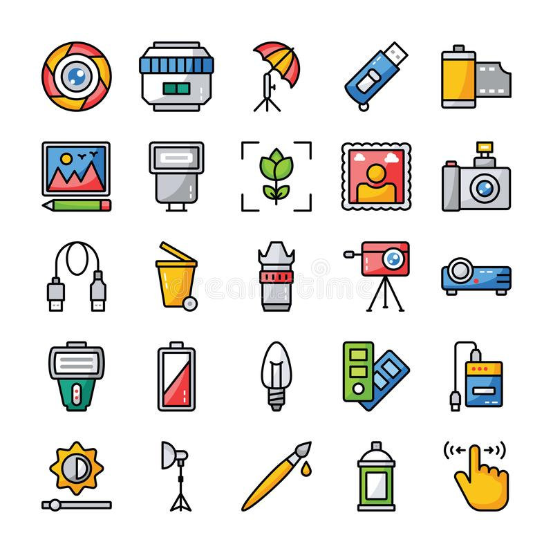 Photography and Graphics Flat Vector Icons Pack. Here is photography vector icons pack, useful for all designing and graphical applications or any kind of stock illustration