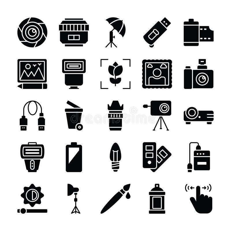 Photography and Graphics Glyph Vector Icons Pack. Here is photography vector icons pack, useful for all designing and graphical applications or any kind of vector illustration