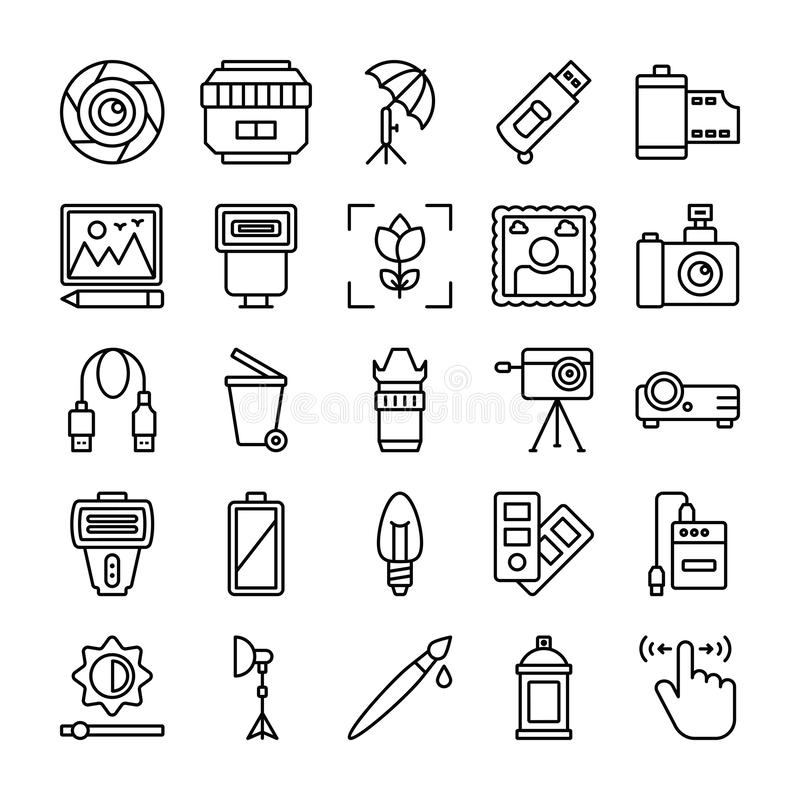 Photography and Graphics Line Vector Icons Pack. Here is photography vector icons pack, useful for all designing and graphical applications or any kind of vector illustration