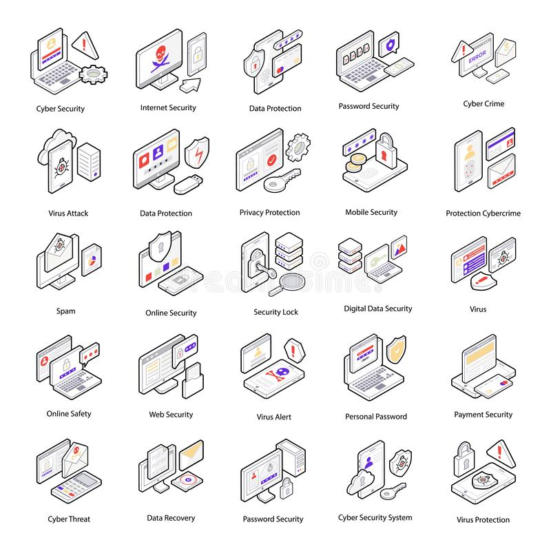 Cyber Security Isometric Icons royalty free illustration