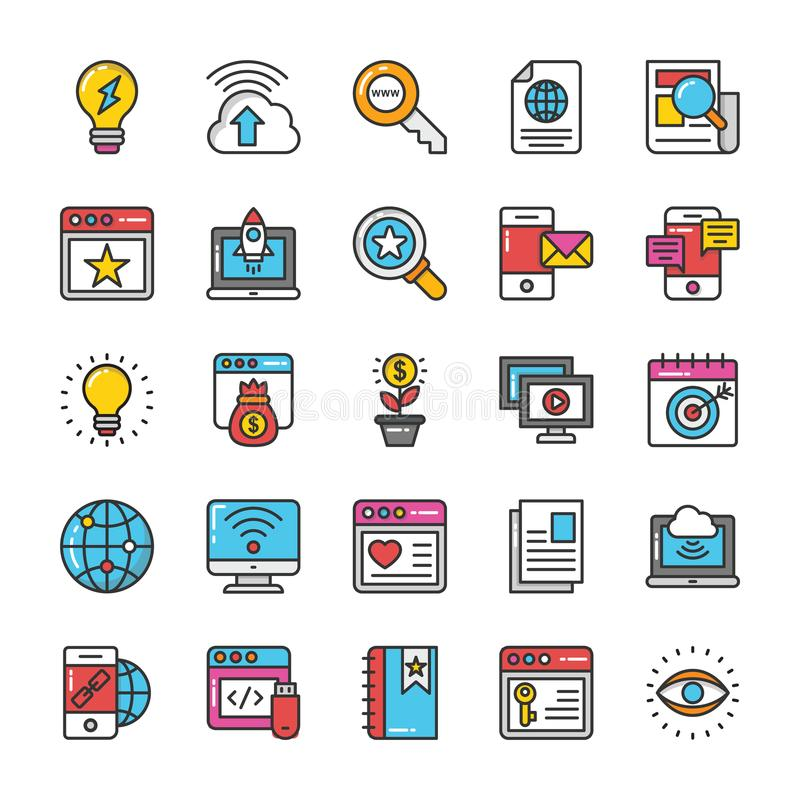 Digital and Internet Marketing Vector Icons Set 7 royalty free illustration