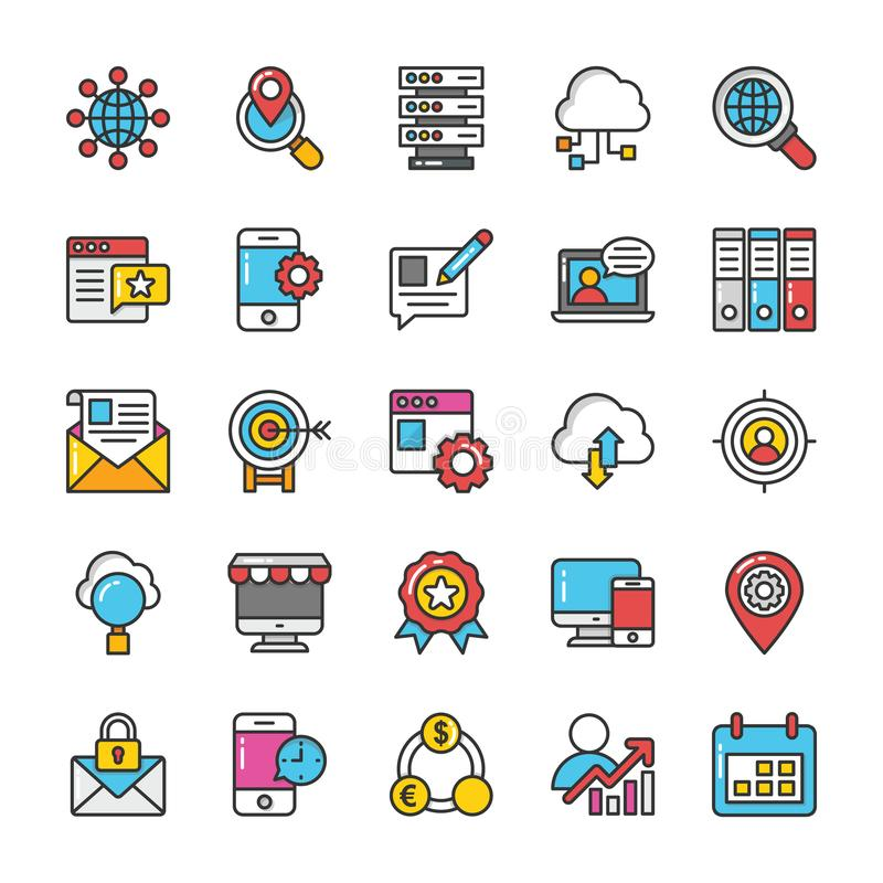 Digital and Internet Marketing Vector Icons Set 3 vector illustration