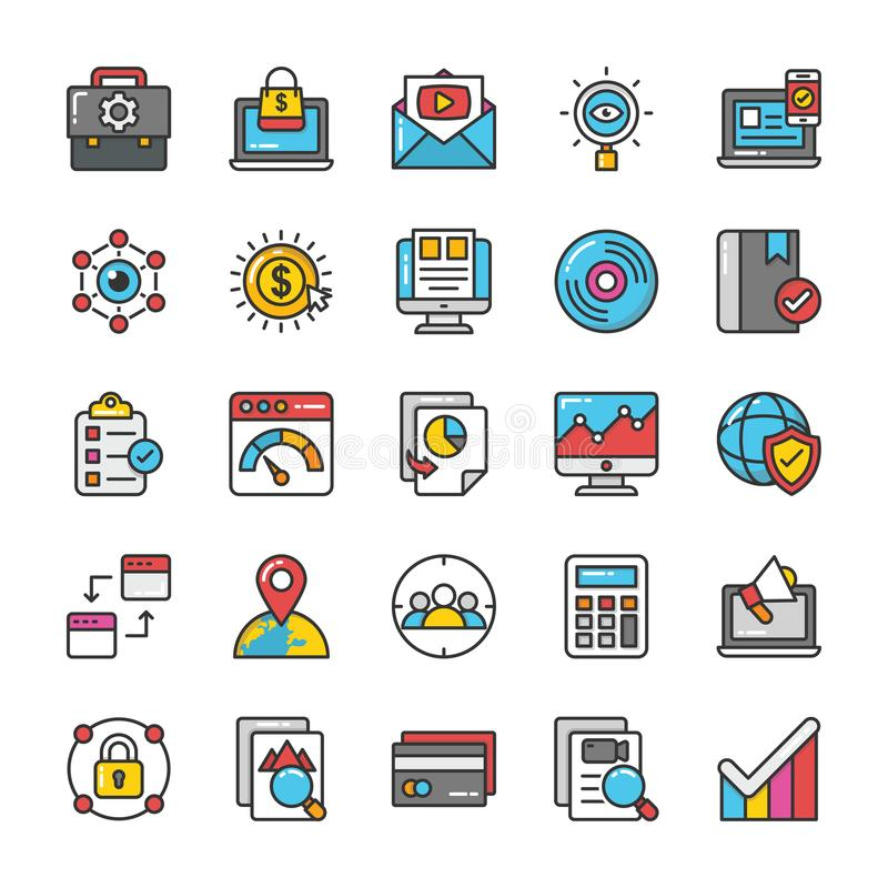 Digital and Internet Marketing Vector Icons Set 5. Here is a set of Digital and Internet Marketing Vector Icons that are great for decorating Websites royalty free illustration
